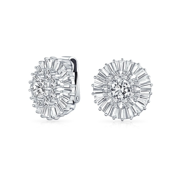 29d231814 Shop Bridal Wedding CZ Baguette Pave Round Cubic Zirconia Clip On Earrings  For Women Non Pierced Ears Silver Plated Brass - On Sale - Free Shipping On  ...