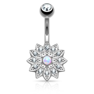 Crystal Pave Petals with Opal Center Small Flower Belly Button Navel Ring - 14GA (Sold Ind.) (3 options available)