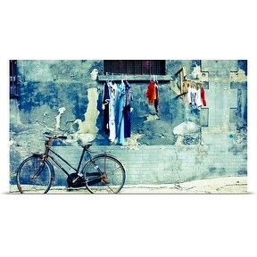Poster Print entitled Laundry and a bike in Beijing's hutong