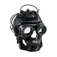 Cyborg Skull Metallic Finish Steampunk Skull with Goggles Mask