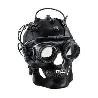 Cyborg Skull Metallic Finish Steampunk Skull with Goggles Mask