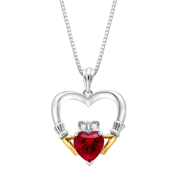 1 5/8 ct Created Ruby Heart Claddagh Pendant with Diamonds in Sterling Silver & 14K Gold - Red