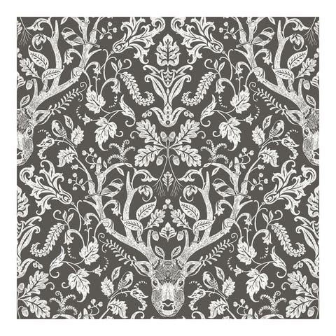 Kiwassa Brown Antler Damask Wallpaper - 20.5 x 396 x 0.025
