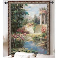 "The Water Garden with Columns Cotton Wall Art Hanging Tapestry 53"" x 35"" - multi"