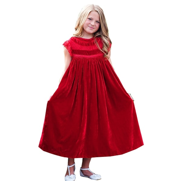 46e4f0fef2326 Shop Girls Red Velvet Lace Smock Magnolia Christmas Dress - Free ...