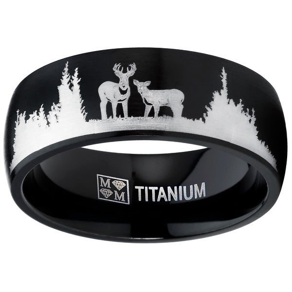 Oliveti Men's Black Outdoor Hunting Titanium Ring Band Laser Etched Deer Stag Scene. Opens flyout.