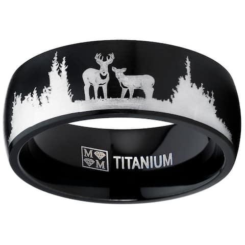 Oliveti Men's Black Outdoor Hunting Titanium Ring Band Laser Etched Deer Stag Scene