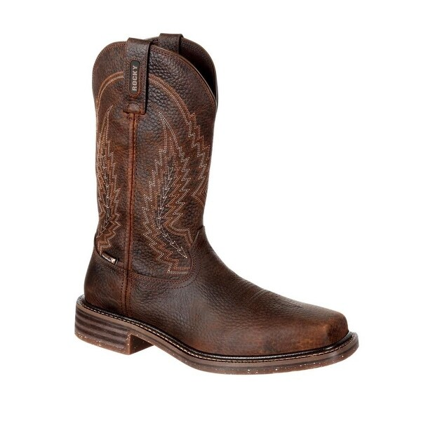 """Rocky Western Boots Mens Riverbend 12"""" Waterproof Dark Brown"""