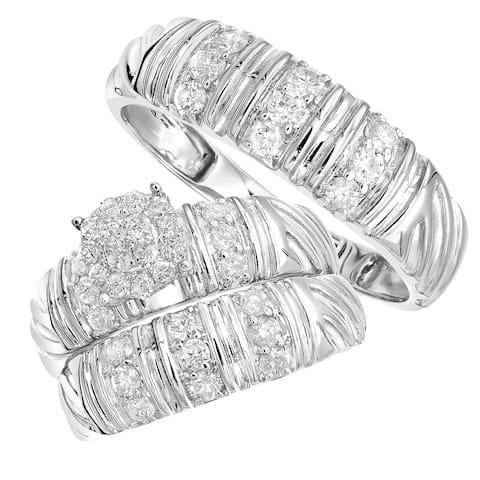 10kt Gold Bridal Set Diamond Engagement Ring, His & Her Wedding Bands