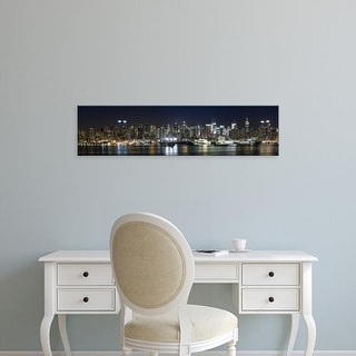 Easy Art Prints Panoramic Image 'Buildings in city, Hudson River, Manhattan, New York City, New York State' Canvas Art