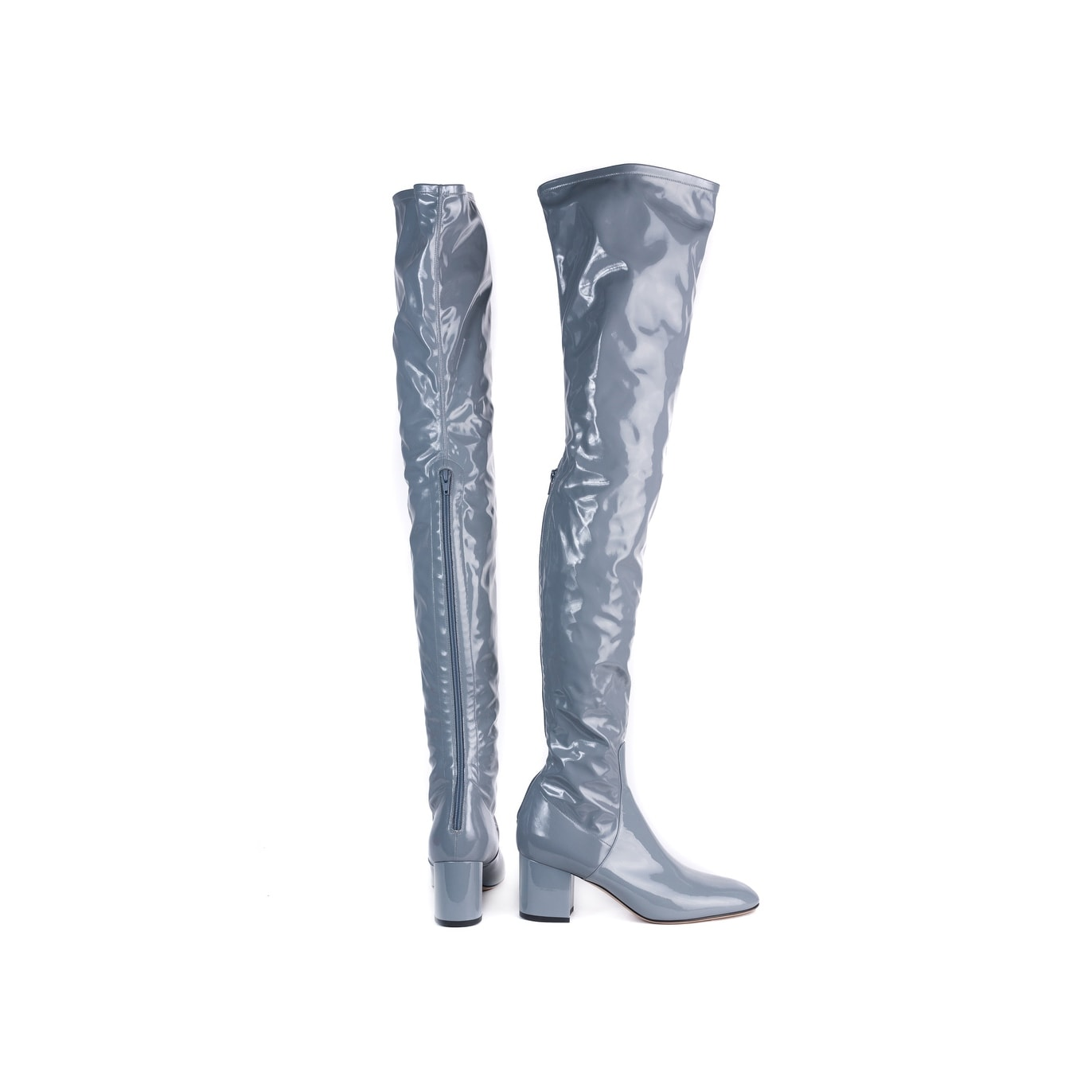 8facc004186 Shop Valentino Women Grey Stretch Patent Over the Knee High Boots - Free  Shipping Today - Overstock - 22995239