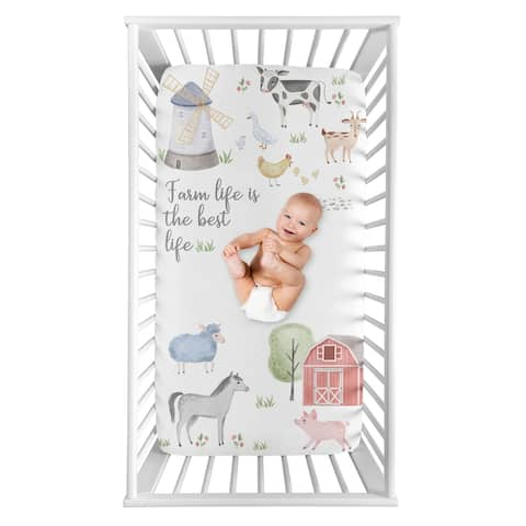 Farm Animals Collection Boy or Girl Photo Op Fitted Crib Sheet - Watercolor Farmhouse Horse Cow Sheep Pig Farm Life
