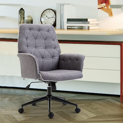 Modern Mid-Back Tufted Linen Fabric Home Office Task Chair with Arms, Swivel Adjustable - 26*27.25*39.75