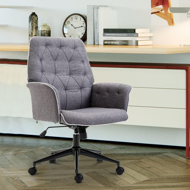 Modern Mid-Back Tufted Linen Fabric Home Office Task Chair with Arms, Swivel Adjustable - 26*27.25*39.75 - Grey