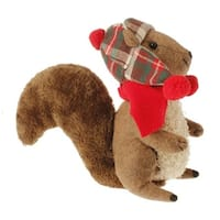"9.75"" Country Rustic Style Brown Plush Squirrel with Red Plaid Hat & Scarf Christmas Ornament"