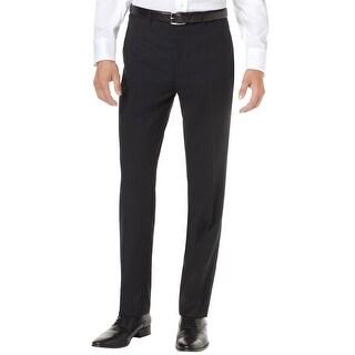 Alfani Red Label Slim Tonal Stripe Flat Front Dress Pants Black 40W x 32L - 40