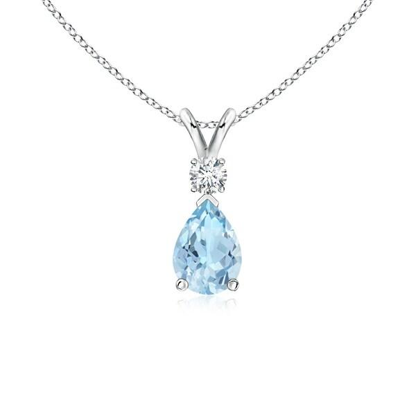 Angara Pear Aquamarine Teardrop Pendant Necklace with Diamond