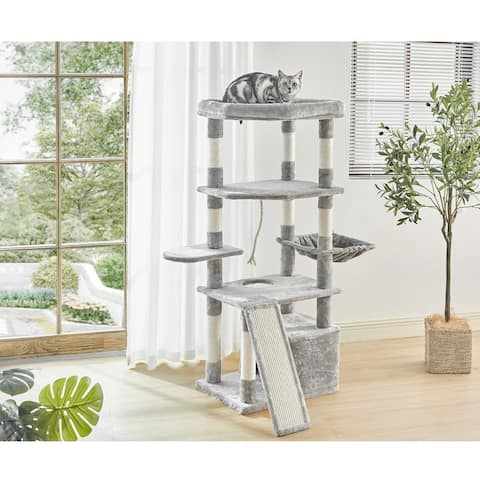 55.9 Inches Cat Tree Multi Level Cat Tower with Sisal-Covered Scratching Posts, Kitty Playhouse and Large Top Perch