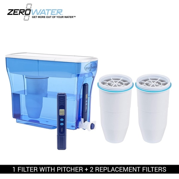 shop zero water 23 cup pitcher bundle 2 pack ion exchange water dispenser free shipping. Black Bedroom Furniture Sets. Home Design Ideas