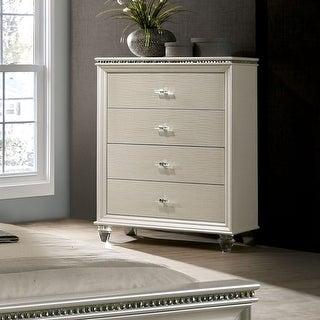 Link to Silver Orchid Allenby Pearl White 4-drawer Chest Similar Items in Dressers & Chests