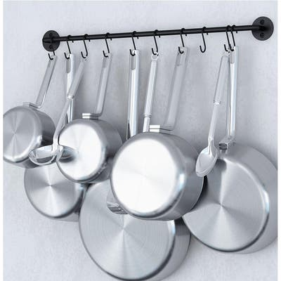 Wallniture Cucina Steel 24'' Wall Mounted Kitchen Rail with 10 Hooks, Black