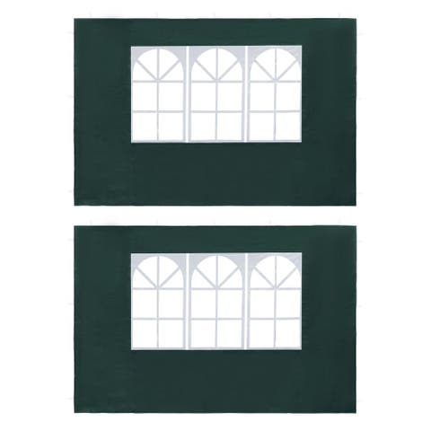 vidaXL Party Tent Sidewall 2 pcs with Window PE Green