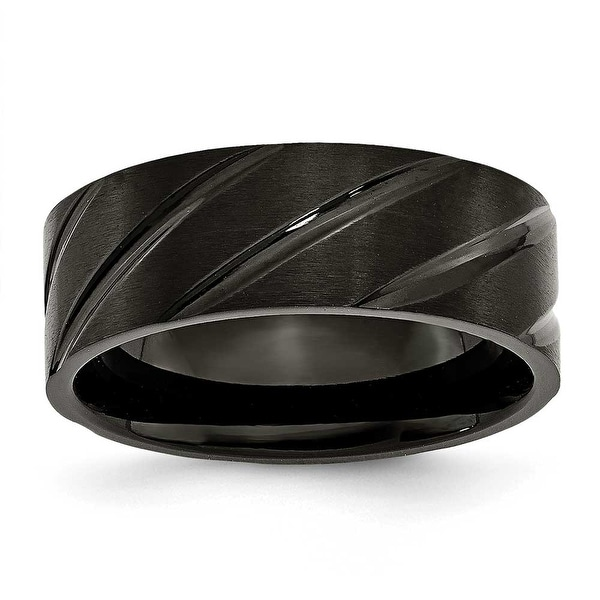 Black Titanium Swirl Design 8mm Brushed and Polished Band