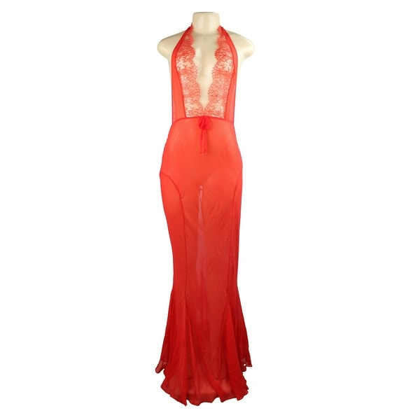 Victoria's Secret Designer Collection 100% Silk Maxi Mermaid Gown Red Large $498 - sexy red
