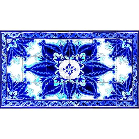 18in x 36in Persian Design Area Rug 18pc Tile Ceramic Wall Mural