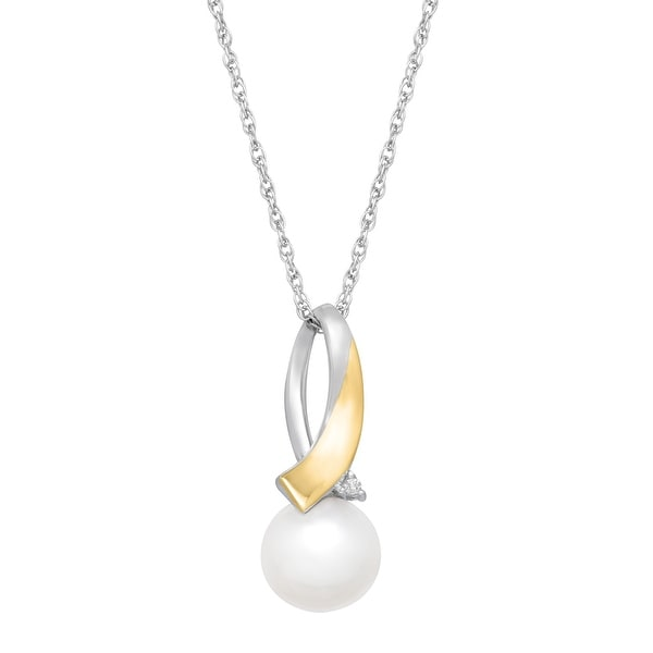 Freshwater Pearl Drop Pendant with Diamonds in Sterling Silver and 14K Gold
