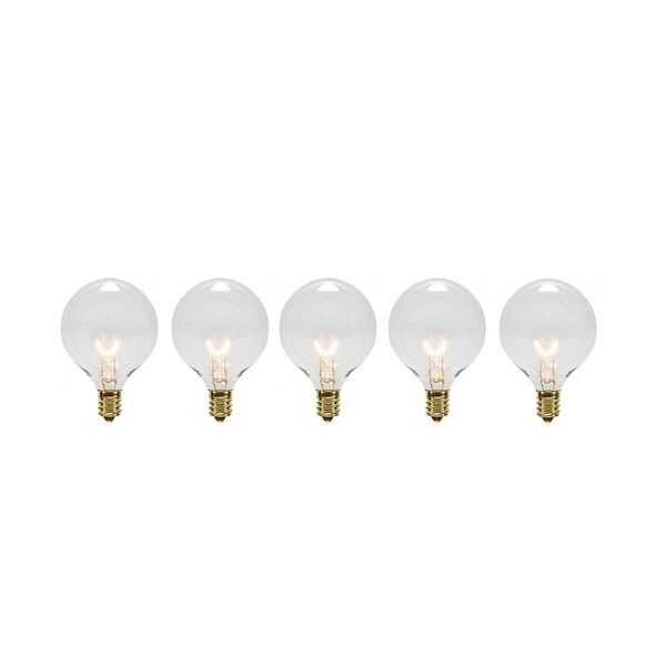 Pack of 5 Transparent Clear G40 Globe Christmas Replacement Light Bulbs - 7 Watts