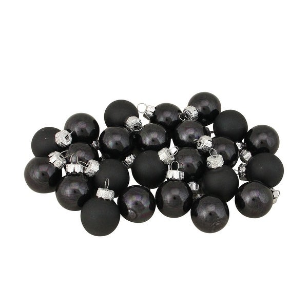"24ct Black Shiny and Matte Christmas Glass Ball Ornaments 1"" (25mm)"