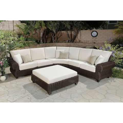Mill Valley Cushioned Sectional & Ottoman Set with Accent Pillows