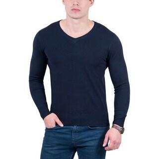 Real Cashmere Dark Blue V-Neck Fine Cashmere Blend Mens Sweater