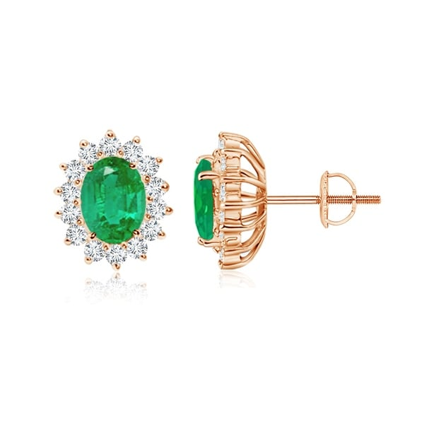 Angara Oval Emerald Stud Earrings with Diamond Halo in Yellow Gold p3QP6pr