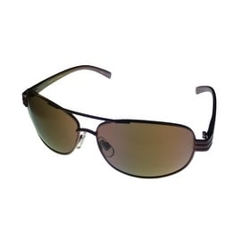 Perry Ellis Mens Brown Metal Aviator Sunglass< Solid Brown Lens PE21 5