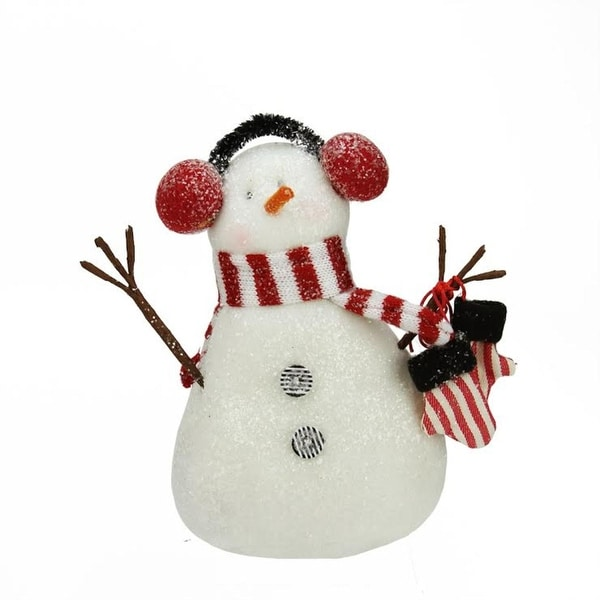 """6.75"""" Decorative Red and White Glittered Snowman Christmas Table Top Plush Figure"""