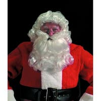 2-Piece Christmas Santa Claus Deluxe Curly Wig & Beard - Adults One Size - WHITE