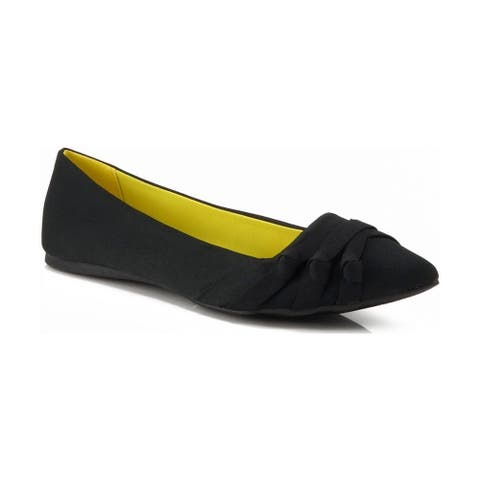 Qupid Site-24 Knotted Pointy Toe Ballet Flat