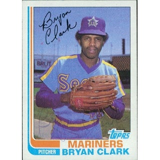 Signed Clark Bryan Seattle Mariners 1982 Topps Baseball Card in blue pen Very light signature autog