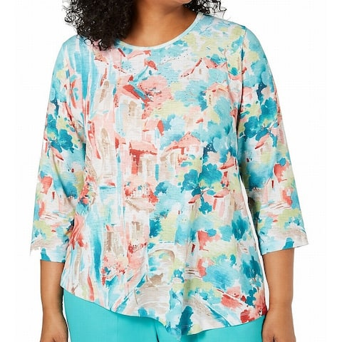 Alfred Dunner Women's Blouse Blue Size 3X Plus Coastal Drive Abstract
