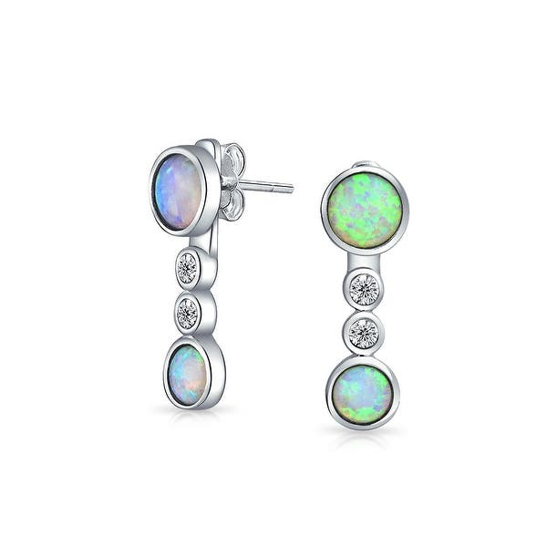 3b4a82c35 White Created Opal CZ Back Front Cubic Zirconia Dangle Earrings For Women  925 Sterling Silver October Birthstone