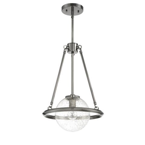Sunset Lighting Messier Pendant One Light - Clear Seeded Glass Globe - Dimmable