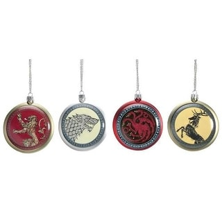 Game Of Thrones Flat Disc Shield Christmas Ornaments Set of 4