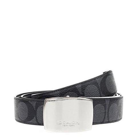 Coach Heritage Signature Coated Canvas Reversible Belt F64828 Charcoal Black