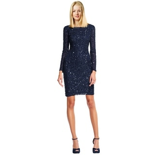 Adrianna Papell Sequined Long Sleeve Scoop Back Cocktail Dress - 12
