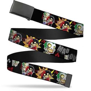 "Blank Black 1.25"" Buckle Joker & Harley Quinn Poses Mad Love Webbing Web Belt 1.25"" Wide - M"