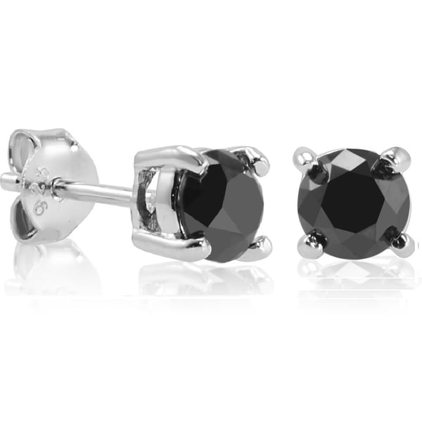 1 1/2ct Black Diamond Stud Earrings set in Sterling Silver