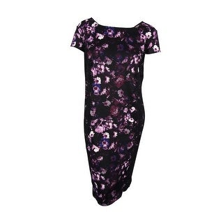 SLNY Women's Scuba Lace Trim Dress - Black/Purple - 22W