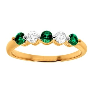 1/2 ct Created Emerald & White Sapphire Band Ring in 10K Gold - Green